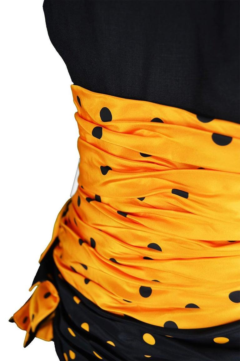 Black Nina Ricci Vintage Strapless Polka Dot Taffeta & Linen Cocktail Party Dress For Sale