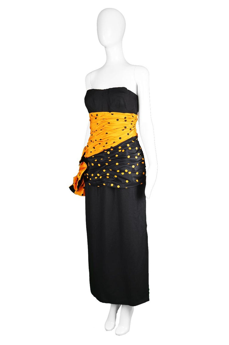 Nina Ricci Vintage Strapless Polka Dot Taffeta & Linen Cocktail Party Dress In Excellent Condition For Sale In Doncaster, South Yorkshire