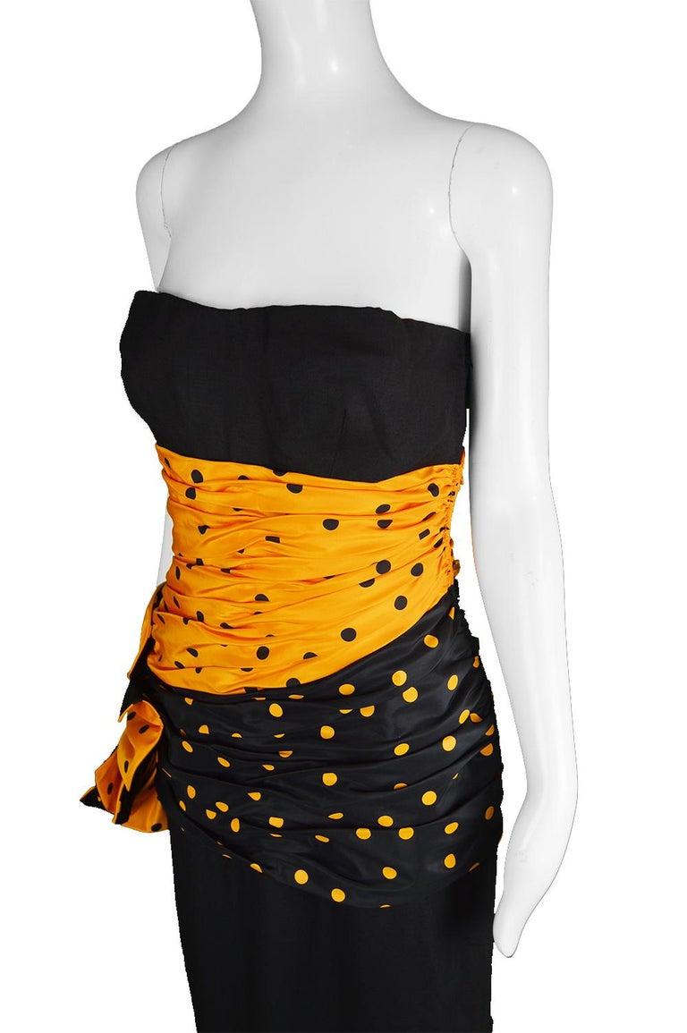Women's Nina Ricci Vintage Strapless Polka Dot Taffeta & Linen Cocktail Party Dress For Sale