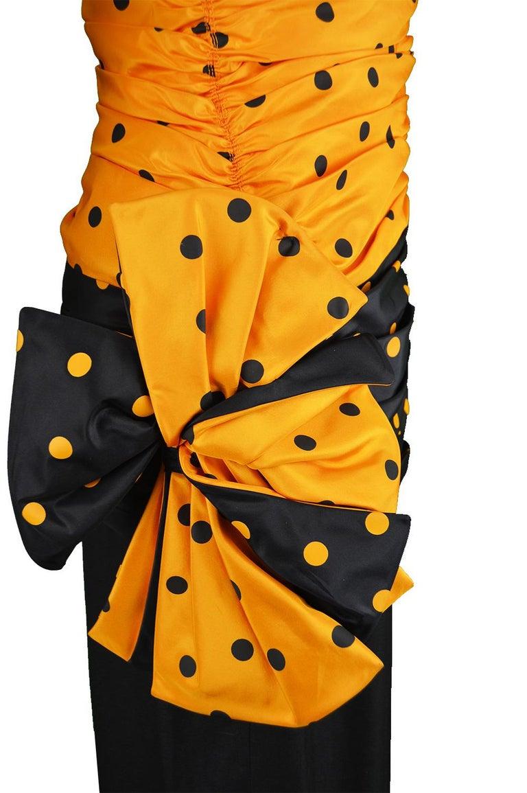 Nina Ricci Vintage Strapless Polka Dot Taffeta & Linen Cocktail Party Dress For Sale 1