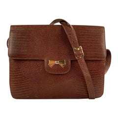 Nina Ricci Vintage Tan Reptile Look Embossed Shoulder Bag