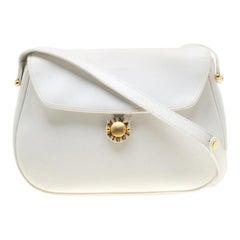Nina Ricci White Leather Flap Shoulder Bag