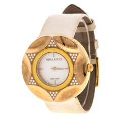 Nina Ricci White Mother Of Pearl Gold Plated Steel Diamonds N024.83 Women's Wris