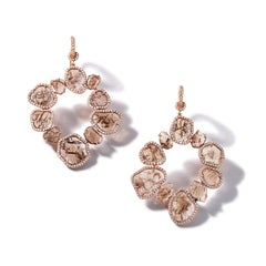 Nina Runsdorf Rose Gold Brown Diamond Slice Earrings