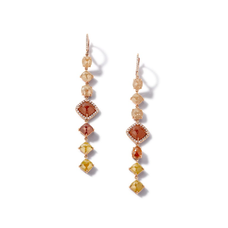 Nina Runsdorf Rose Gold Rough Diamond Line Earrings For Sale