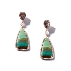 Nina Runsdorf Rose Gold Tree Opal and Brown Rough Diamond Earrings
