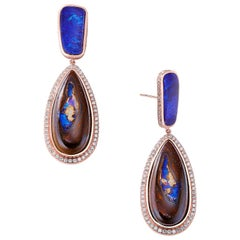 Nina Runsdorf Rose Gold Yahwah and Blue Opal Earrings
