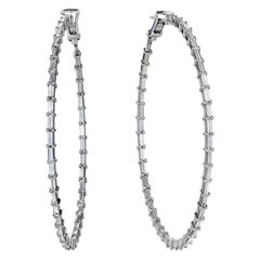 Nina Runsdorf White Gold Baguette Diamond Hoop Earrings