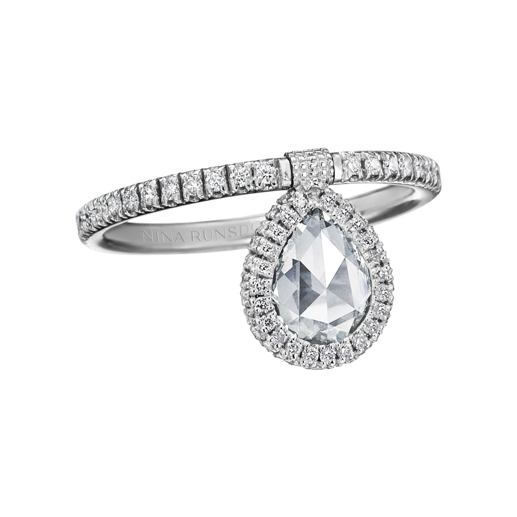 Nina Runsdorf White Gold Rosecut Diamond Flip Ring