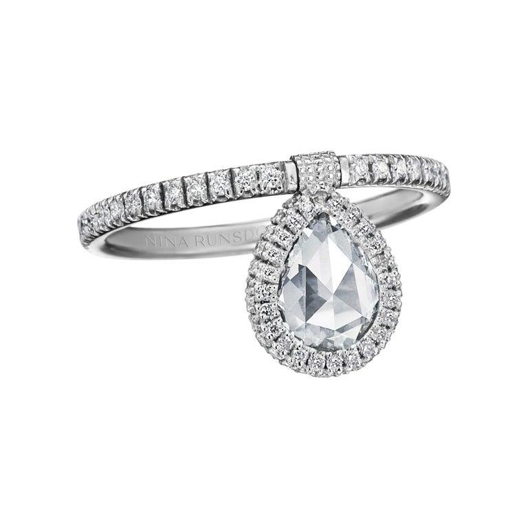 Nina Runsdorf White Gold Rosecut Diamond Flip Ring For Sale