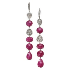 Nina Runsdorf White Gold Ruby and Rough Diamond Line Earrings