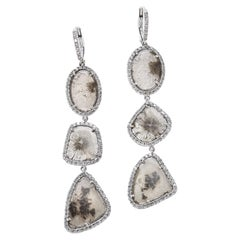 Nina Runsdorf White Gold Slice Diamond Triple Drop Earrings