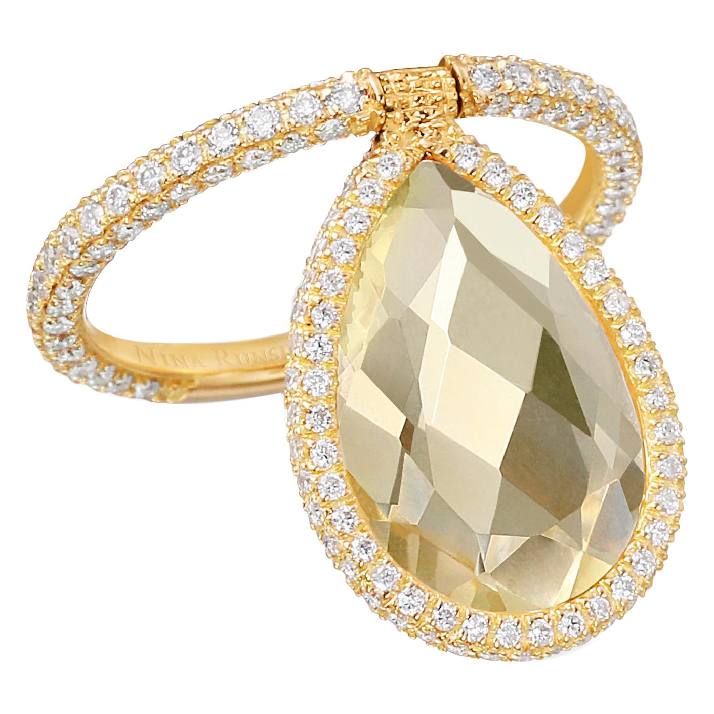 Nina Runsdorf Yellow Gold Large Yellow Citrine Flip Ring