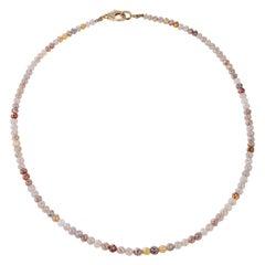 Nina Runsdorf Yellow Gold Multi-Color Rough Diamond Necklace Pave Diamond Clasp