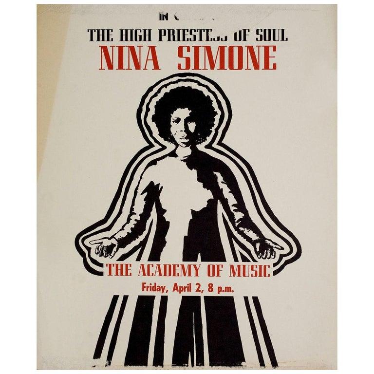 Nina Simone The High Priestess of Soul 1980s US Mini Poster For Sale