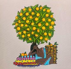 Relaxing  under the orange tree
