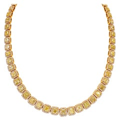 Ninacci Couture Fancy Yellow and Fancy Light Pink Diamond Necklace