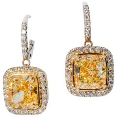 Ninacci Couture GIA Certified Fancy Yellow Diamond Earrings
