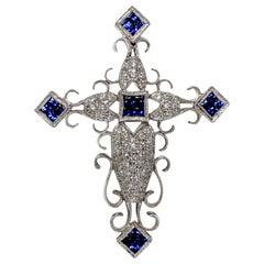 Ninacci Couture Sapphire and Diamond Cross Pendant