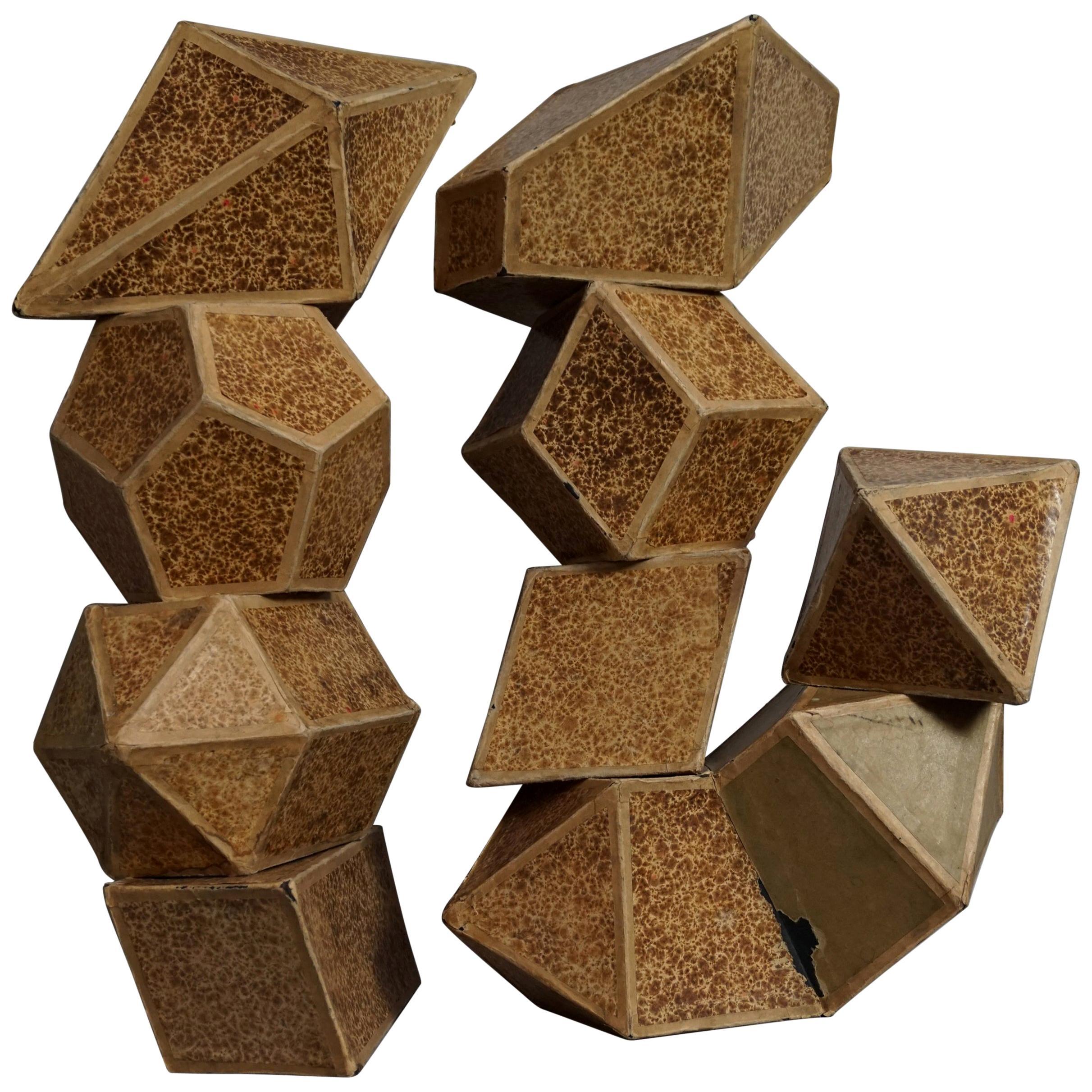 Nine 1920s Geometric Cardboard Science Crystals School Teaching Material Models