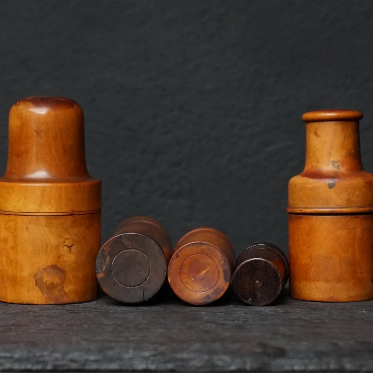Nine 19th Century Treen Ware Boxwood Medical Oil Ointment Lotion Bottle Holders For Sale 4
