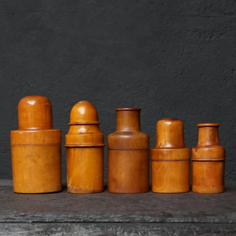 Nine 19th Century Treen Ware Boxwood Medical Oil Ointment Lotion Bottle Holders For Sale 5