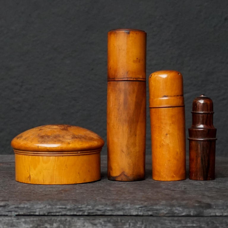 Nine 19th Century Treen Ware Boxwood Medical Oil Ointment Lotion Bottle Holders For Sale 6