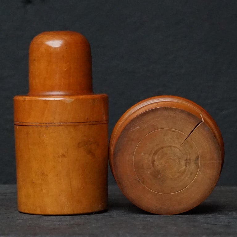 Nine 19th Century Treen Ware Boxwood Medical Oil Ointment Lotion Bottle Holders For Sale 7