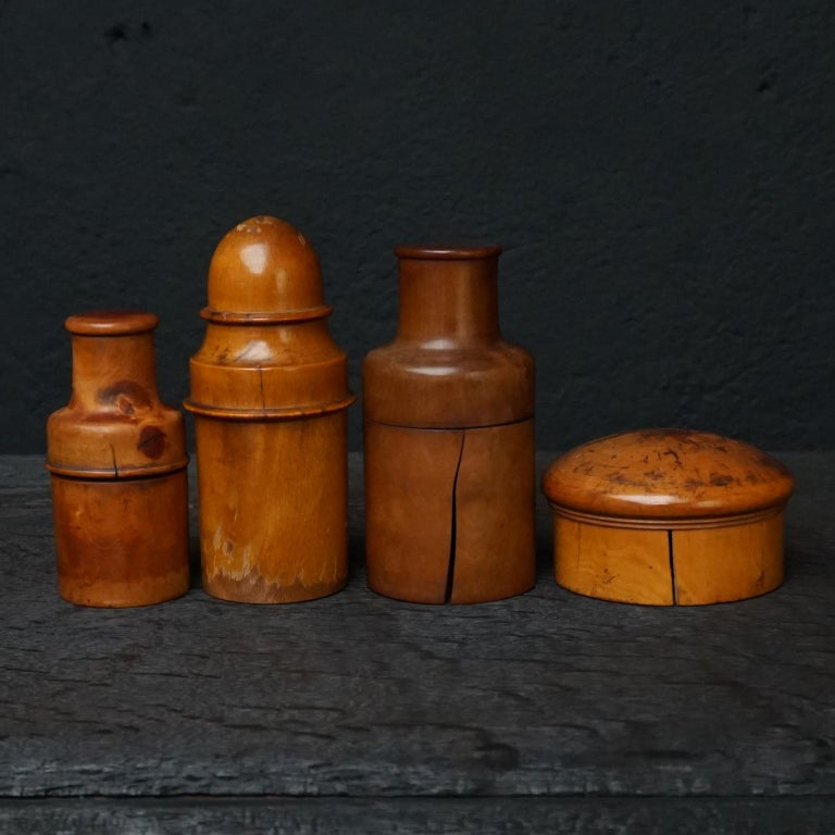 Nine 19th Century Treen Ware Boxwood Medical Oil Ointment Lotion Bottle Holders For Sale 12