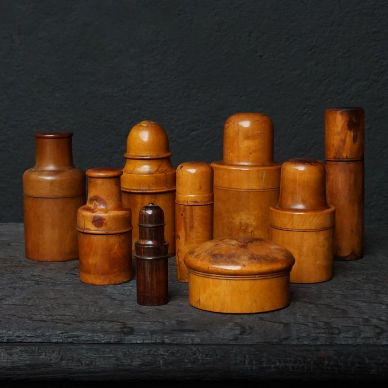 Victorian Nine 19th Century Treen Ware Boxwood Medical Oil Ointment Lotion Bottle Holders For Sale