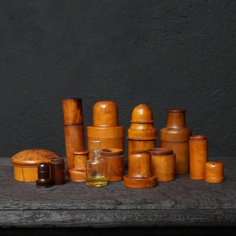 British Nine 19th Century Treen Ware Boxwood Medical Oil Ointment Lotion Bottle Holders For Sale
