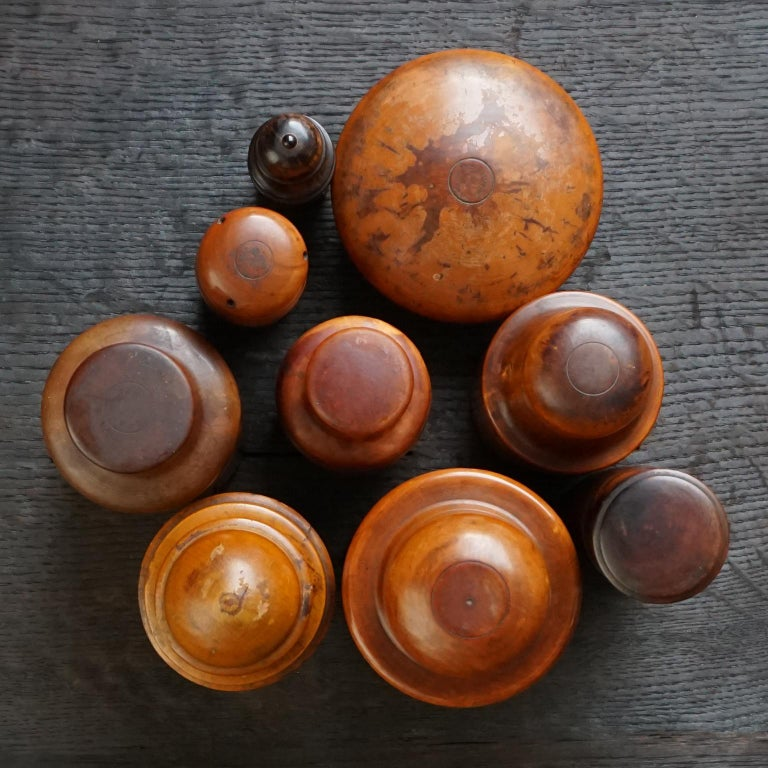 Glass Nine 19th Century Treen Ware Boxwood Medical Oil Ointment Lotion Bottle Holders For Sale