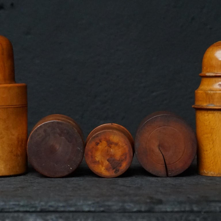 Nine 19th Century Treen Ware Boxwood Medical Oil Ointment Lotion Bottle Holders For Sale 2