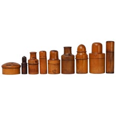 Nine 19th Century Treen Ware Boxwood Medical Oil Ointment Lotion Bottle Holders