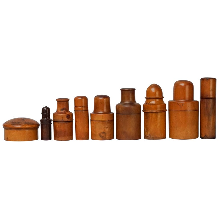 Nine 19th Century Treen Ware Boxwood Medical Oil Ointment Lotion Bottle Holders For Sale