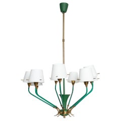 Nine-Arm Chandelier Emerald Green Patinated Brass & Glass Stilnovo, Italy, 1950s