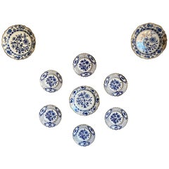Nine Blue Onion Meissen Show or Wall Plates