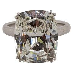 Nine Carat Antique Cut Cushion Solitaire Ring in Platinum 'GIA'
