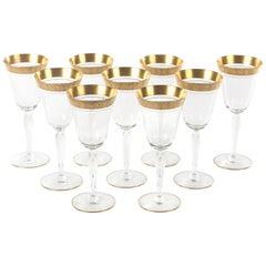 Nine Elegant Gold Trimmed Vintage Goblets, Tall, circa 1960