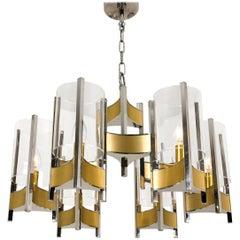 Nine-Light Chrome and Glass Chandelier by Gaetano Sciolari, 1960s