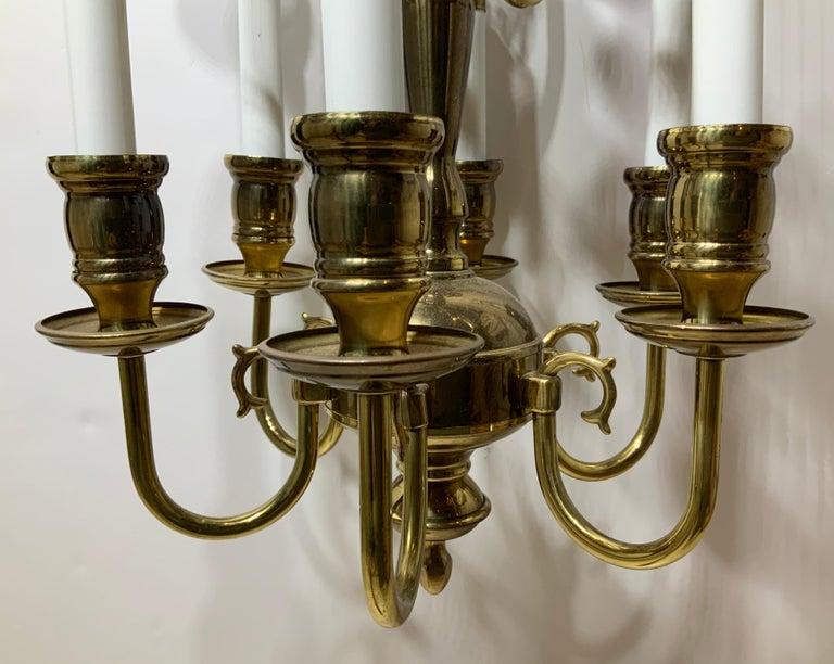 Nine-Light Brass Hanging Chandelier For Sale 6