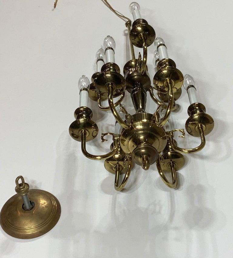 Nine-Light Brass Hanging Chandelier For Sale 9