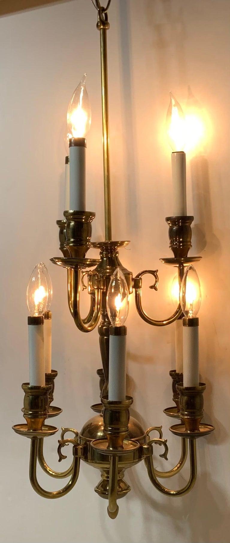 American Nine-Light Brass Hanging Chandelier For Sale