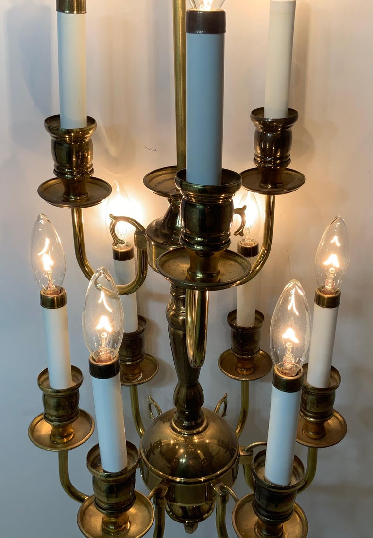 Nine-Light Brass Hanging Chandelier In Good Condition For Sale In Delray Beach, FL