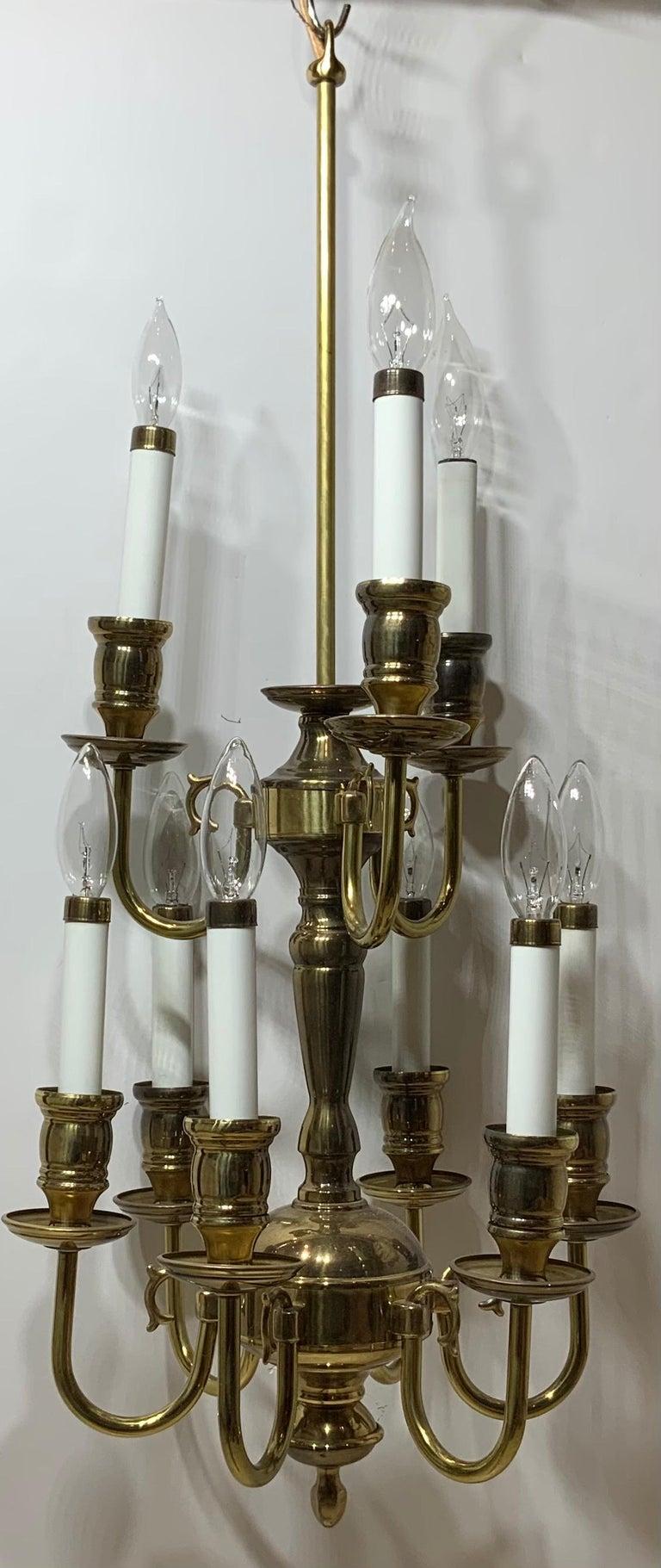 Nine-Light Brass Hanging Chandelier For Sale 1