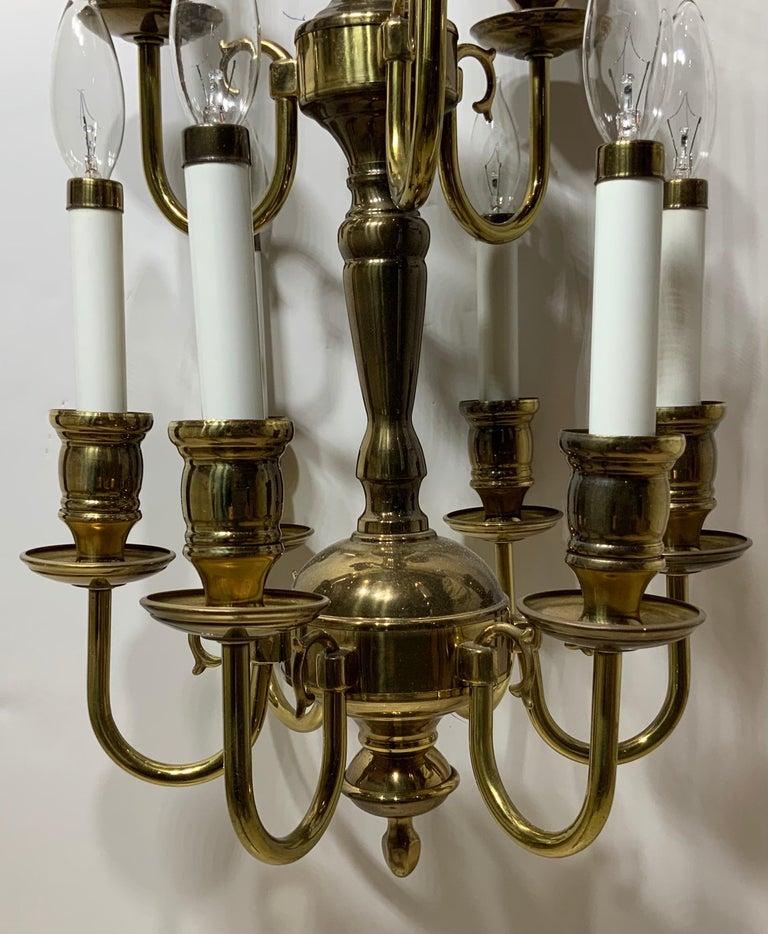 Nine-Light Brass Hanging Chandelier For Sale 2