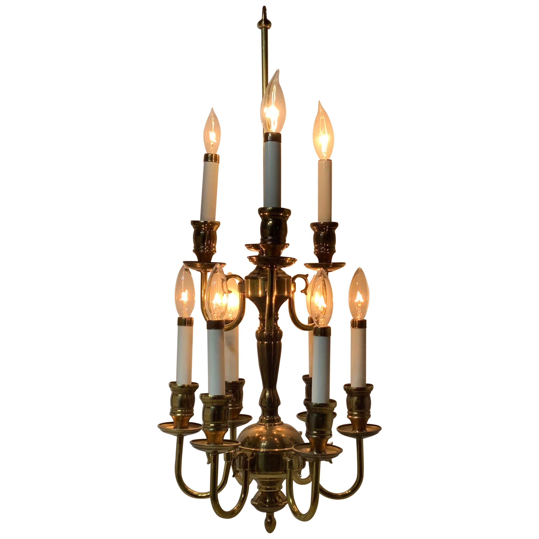 Nine-Light Brass Hanging Chandelier