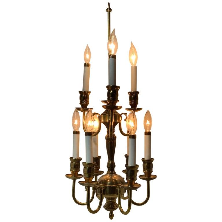Nine-Light Brass Hanging Chandelier For Sale