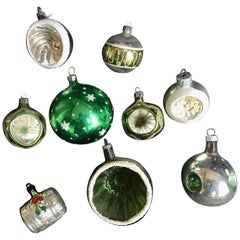 Nine Midcentury Mercury Glass Christmas Tree Ornaments