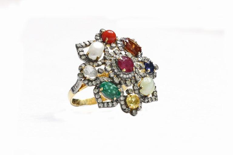 Oval Cut Nine Precious Gems Fashion Ring in Art Deco Style For Sale